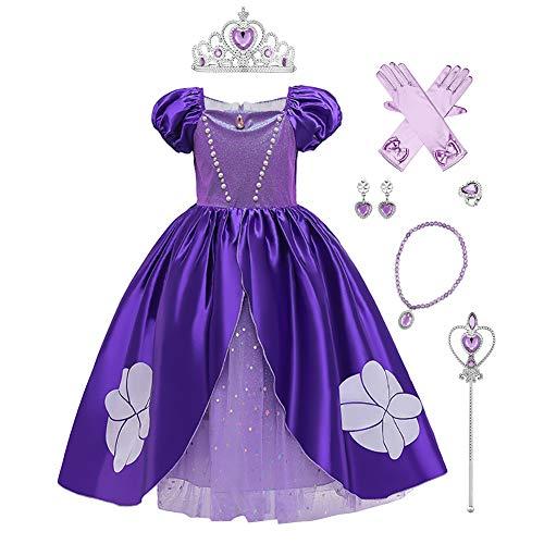 IWEMEK Disfraz de Princesa Sofia Vestido Maxi Largo con Accesorios Niñas Disfraces de Carnaval Halloween Navidad Cumpleaños Ceremonia Fiesta Vestidos Ropa #02: Morado Set 11-12 años