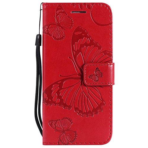Hancda Coque pour Samsung Galaxy A8 Plus [Pas pour A8], Housse Coque Flip Case Cuir Porte Carte Magnétique Portefeuille Cover Etui Support Antichoc Coque pour Samsung Galaxy A8 Plus,Rouge