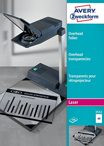 AVERY Zweckform 3552 Overhead-Folien für S/W Laserdrucker und -Kopierer (100 Transparentfolien, A4, spezialbeschichtet, stapelverarbeitbar, Folienstärke 0,10 mm, lösemittelfrei)