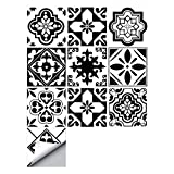 decalmile 10 Piezas Pegatinas de Azulejos 15x15cm Clásico Negro y Blanco Marroquí Adhesivo Decorativo para Azulejos Cocina Baño Decoración