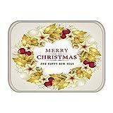 N/A Impresión De Alfombrillas Felpudo De Goma para La Decoración del Hogar del Pasillo De La Cocina Feliz Navidad Santa Regalo Navideño De Almohadilla Absorbente Antideslizante