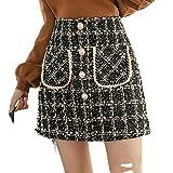 Faldas Tweed Mujeres Otoño Invierno Botón Mini Lápiz Tartán Lana Coreano De Cintura Alta Elegante Tweed Señora