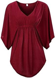 DADKA Fashion Blouse for Women Plus Size Batwing Sleeve V-Neck Bandage Stitching Solid Half Sleeve Tops