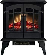 Estufa de chimenea independiente con llama realista, calentador eléctrico de doble puerta, estufa eléctrica panorámica infrarroja con ahorro de energía y calor rápido, 1800W, negro, 49×26×59cm