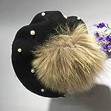 WDMZ Women 's Girls Maquillaje Boina Casquillo de la Bola de Color sólido Accesorios de Perlas Dome Sombrero de Vendedor de periódicos