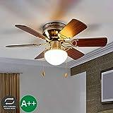Lampenwelt Deckenventilator mit Lampe 'Flavio' (Modern) aus Holz u.a. für Wohnzimmer & Esszimmer (1 flammig, E27, A++) - Ventilator, Wohnzimmerlampe