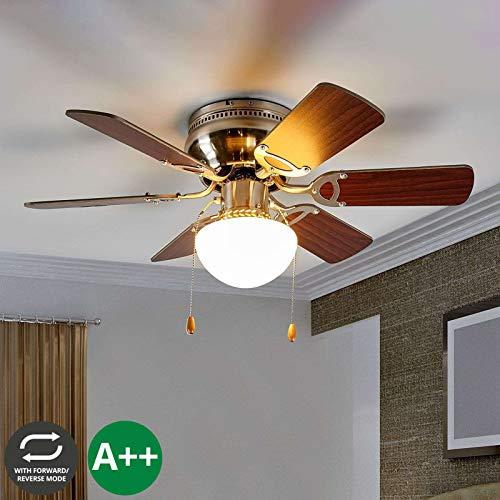 Lindby Deckenventilator mit Beleuchtung und Zugschalter, leise & klein | 2-in-1: Ventilator & Lampe | Durchmesser: 76 cm | 3 Geschwindigkeitsstufen | Sommer- & Winterbetrieb