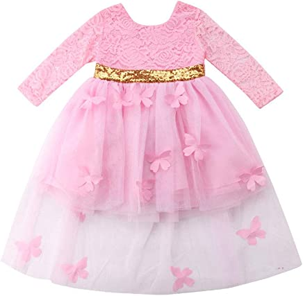 1389522dc newEmergingstyle Baby Girl Princess Dress Long Sleeve Lace 3D Bowknot  Butterfly Wedding Party Dresses