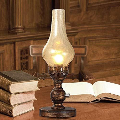 AXWT Luz marrón Vidrio Americano Pastoral Queroseno lámpara de Mesa Vintage nostálgico Loft iluminación e27 Escritorio Linterna Creativa clásico Dormitorio Noche Luces de Cama de Hierro Forjado Metal