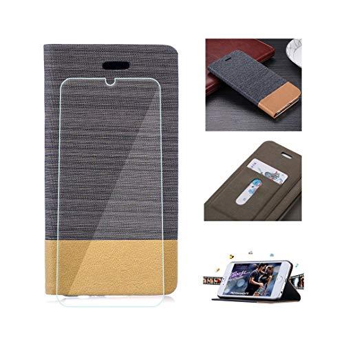 SCDMY für ZTE Axon 10 Pro Lederhülle + Panzerglas Bildschirmfolie,Haben Geldbörse, Kredit Kartenfächer, Unterstützung, Multifunktions Handyhülle, Farbe Dunkelgrau