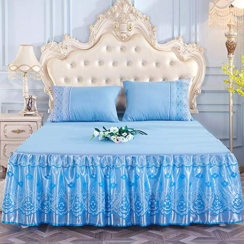Spitze Bett Rock, Bett Volant Bestickt Tagesdecke Mit rüschen Hotel qualität Faltenresistent und ausbleichen beständig-blau 180x200cm/71x79inch
