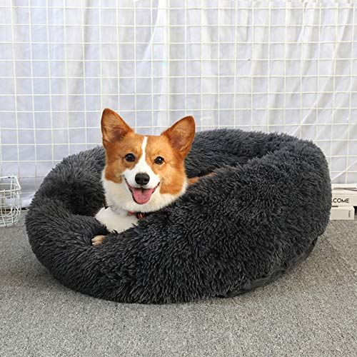 Milopon Pet Bed for Cats and Dogs Cat Bed Round Plush Fluffy Dog Bed Dog Sofa Donut Soft Washable Cat Sofa Size and Colour Optional Diameter 60 cm Black