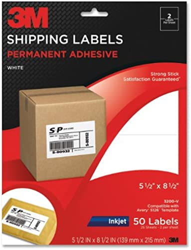 3M 3200-V Permanent Adhesive Weiß Mailing Labels F  Inkjet Printers- 5-1 2x8-1 2- 50 Pack