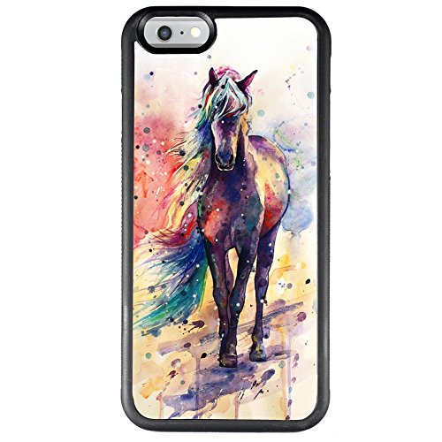 Watercolor Horse Case for iPhone 6s 6, TPU and PC Customized Design Skin Cover, Black Anti-Slippery Anti-Scratch Protective Case for iPhone 6s 6