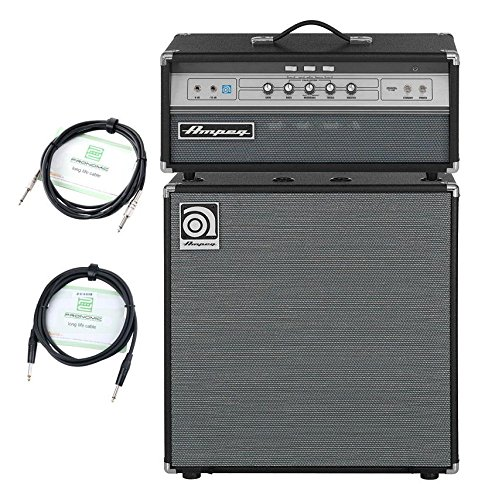 "Ampeg V-4B/SVT-212AV Bass Stack (V-4B 100 Watt Röhren Topteil, SVT-212A 2x12\"" Box, inkl. Kabel) Grau"