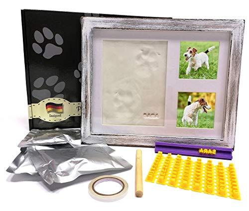 DecorsConcept Pfotenabdruck Set Hund oder Katze mit Rustikal Bilderrahmen - Hochwertiger hölzerner Fotorahmen mit Lehm zum Pfotenabdruck und Schriftschablone zur Personalisierung
