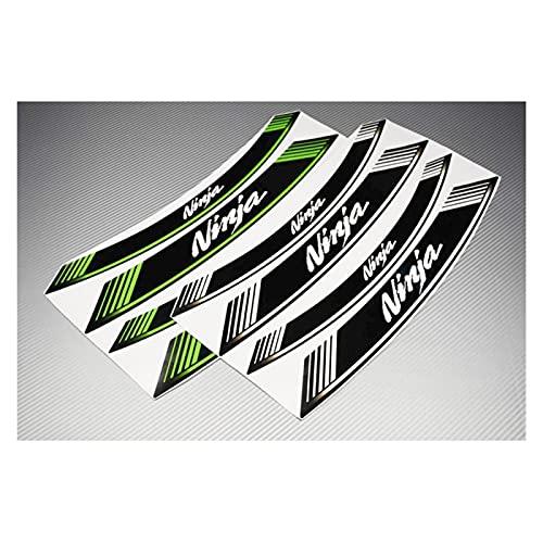 Almohadilla de Tanque de Motocicleta Motocicleta 8X Borde de Grueso Etiqueta de rontación Exterior Etiqueta de la Rueda de la Raya para Kawasaki Ninja 250 300 400 600 650 1000 Todos Etiqueta engomada
