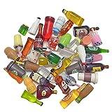 Juland 40 botellas de vino de resina en miniatura, para casa de muñecas, comedor, decoración, coloridas, botellas de zumo, en miniatura, vajilla, botellas, casa de muñecas, bebidas, modelo aleatorio