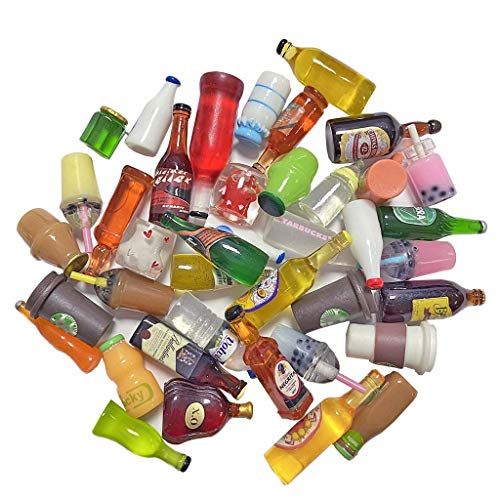 Juland 40 botellas de vino de resina en miniatura, para casa de muñecas, comedor, decoración, coloridas, botellas de zumo, en miniatura, vajilla, botellas, casa de muñecas, bebidas, modelo ale