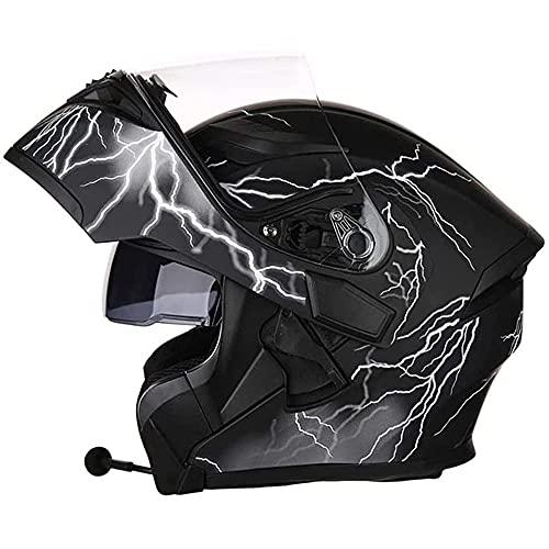 NAINAIWANG Casco Modular Motocicleta integrales Bluetooth Cara Completa visores Dobles Cascos de Motocross modulares para Bicicleta de Calle certificación Dot ECE intercomunicador Mp3 FM