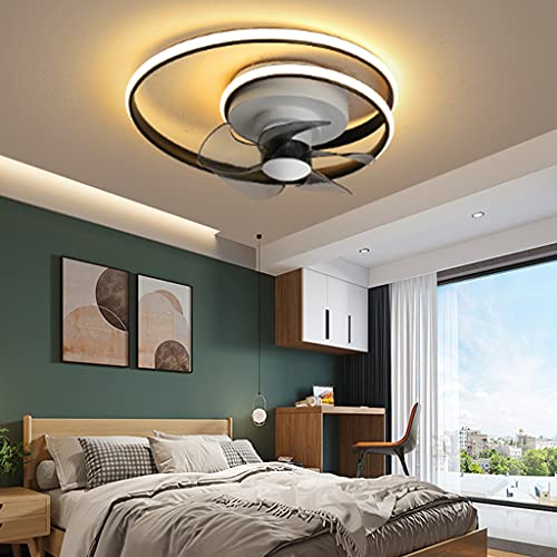 Lámpara de techo LED moderna Lámpara de comedor Ventilador de techo con iluminación sala de estar Acrílico Regulable con control remoto Temporizaciones silenciosas dormitorio oficina Cocina,Negro