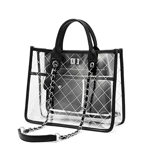 LOVEVOOK Clear Tote Bag With Turn Lock Closure Girly PVC Shoulder Bag Black