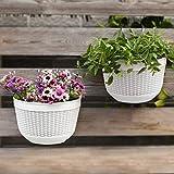 2Pcs Resin Wall Planters Hanging Flower Plant Pots Vertical Wall Mount Planter Pot Flower Basket for...