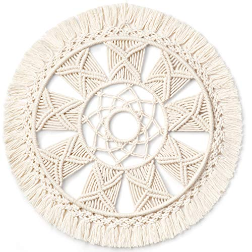 Dahey Macrame Wall Hanging Woven Tapestry Wall Art wreath Boho Chic Home Decor Christmas Day Gift Festival mandala for Apartment Home Bedroom Living Room, 15.5