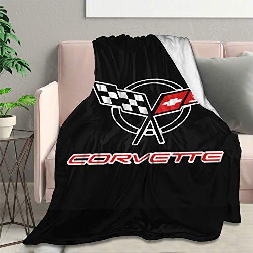 Manta de Forro Polar Ultra Suave con Logo de Corvette de Franela Elegante para Dormitorio, Sala de Estar, sofá Manta cálida de 80 x 60 Pulgadas
