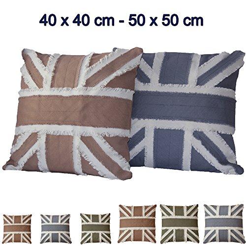 Algodón Funda de cojín en inglés BANDERA 40x 40o 50x 50cm Con Varios Colores a Elegir, algodón, verde, 50 x 50 cm