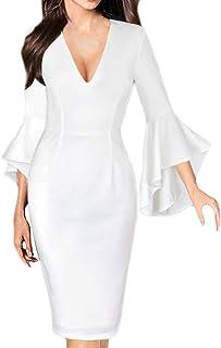 DELEY Mujeres V Cuello Bodycon Vestido de Trabajo de Negocios a Lápiz Vestido de Cóctel de Fiesta Clubwear