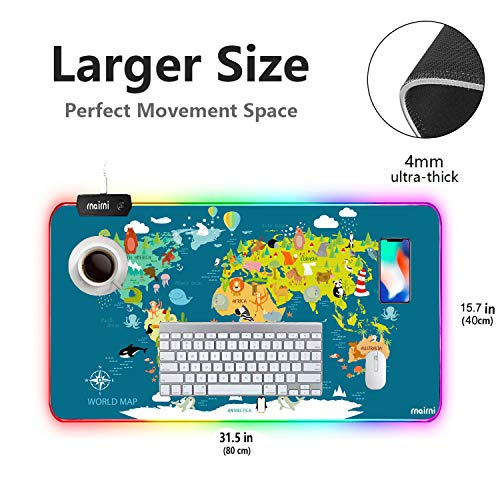 rnairni RGB Soft Gaming Mouse Pad Large, Oversized Glowing Led Extended Mousepad ,Non-Slip Rubber Base Computer Keyboard Pad Mat,31.5X 15.8in (Cartoon World Map) Photo #7