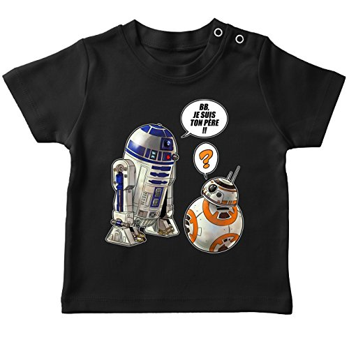 T-Shirt bébé Noir Star Wars parodique BB-8 et R2-D2 : BB, Je suis Ton père !! (Parodie Star Wars)
