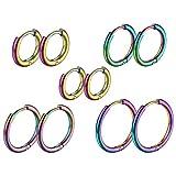 Aros Redondos para Mujeres 5 Set Múltiples Colores Pendientes Circulares Acero Inoxidable 316L Joyería Simple Básica Aretes Finos para...