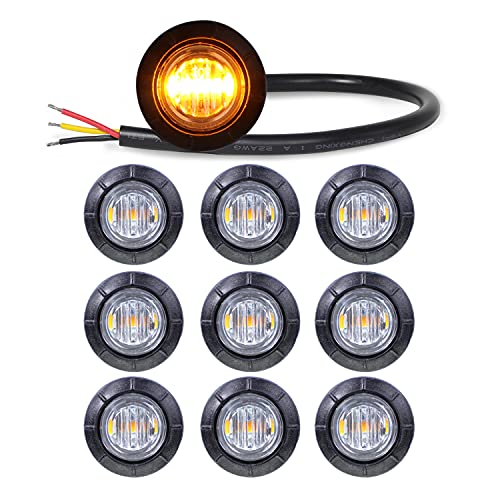 Meerkatt (Pack of 10) 3/4 Inch Mini Clear Lens Amber Light Round Side Marker Indicator Lamp SMD 2835 Bulbs Extra Bright for Van Pickup Trailer Truck ATV Lorry SUV 12v DC with Resin Waterproof 3led-HL
