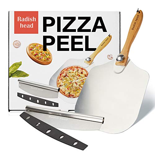 Radish head Aluminum Metal Pizza Peel 12''x14''Foldable Wood Handle Pizza Paddle,Pizza Spatula for Easy Storage,with Pizza Cutter 14'' Rocker Style Blade,for Baking Homemade Pizza Bread and Pastries