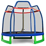 GYMAX 7ft Kids Trampoline, Jumping Trampoline with Safety Enclosure Net & Spring Pad for Outdoor/Indoor, Built-in Zipper Heavy Duty Trampoline for Kids Family (Blue & Green)