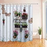 N/ Blumen & Wände Badezimmer wasserdichtes Gewebe Duschvorhang und 12 Haken 183X183CM