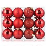 ZOGIN - Adornos navideños, bolas de Navidad, inastillables, adornos para árbol de Navidad, decoración de Navidad, bola colgante para decoración de Navidad, boda, fiesta, bolsa de regalo, 24 unidades