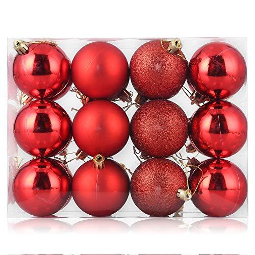 24 bolas de Navidad de 6 cm, adornos para árbol de Navidad, decoración de Navidad, bola colgante para decoración de Navidad, boda, fiesta, bolsa de regalo, 24 unidades