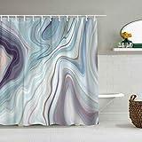 N\A Duschvorhang Granit Marmor Abstrakte Blaue Tinte Flüssigkeit wasserdichte Badvorhänge Haken enthalten - Badezimmer dekorative Ideen Polyester Stoff Zubehör