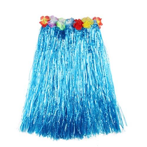 Sommer Quaste Rock Erwachsener Kind Bunt Show Strohrock Kostümshow Eltern-Kind-Kostüm GreatestPAK,Blau,L