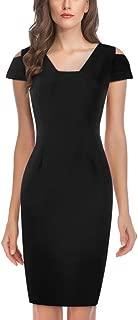 Honwenle Women Open Shoulder Short Sleeve Plain Vintage Office Pencil Dress