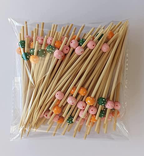 8around Brochetas cóctel grosor extra de bambú Cuentas de Colores,100 palillos para aperitivo 12cm,pincho cócteles decoración para chuches tapas fiesta brocheta de frutas canapés aperitivo sándwiches
