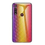 Grandcaser Motorola Moto G8 Play Étui,Ultra-Mince Advanced Fibre Carbone Texture Gradient Glass Box...