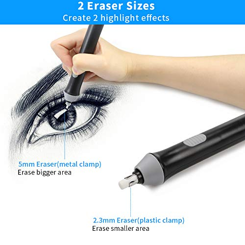 Electric Eraser, Couture Creations Creative Detailer Tool, AFMAT Electric Eraser Kit for Artists, 140 Refills, Battery Operated Pencil Eraser for Sketching Pencils/Drafting/Drawing/Graphite Pencils Photo #7