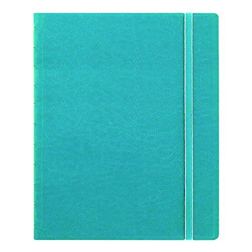 Filofax Caderno clássico recarregável, 27,4 cm x 21,6 cm Aqua – elegante capa de couro com páginas móveis – fecho elástico, marcador de índice, bolso e página (B115106U), tamanho carta
