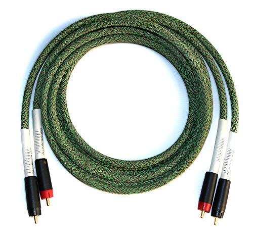 Audiophile Squad Interconnect Kabelset – HighEnd Cinchkabel aus Mogami 2534 Kabel – HiFi Analog Stereo Audiokabel mit ETI Bullet Plug Stecker – 2m Geflochten Cable mit RCA Anschluss – Chinchkabel (2)