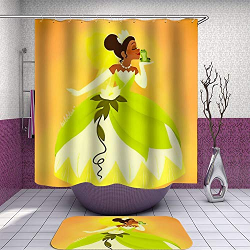 SARA NELL Shower Curtain and Rug Set for Bathroom Green Princess Group Princess Pro Frog Yellow Shower Curtain Fabric Bathroom Curtain Set with 12 Hooks - 72 x 72 Inch