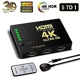 HDMI Switch 4K, FAERSI 5 Ports HDMI Switcher Splitter Unterstützung 4K@30Hz/2K/1080P/3D mit IR Fernbedienung 5 Eingang 1 Ausgang (5 in 1 Switch)